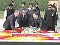 The President of France, Mr. Nicolas Sarkozy laying wreath at the Samadhi of Mahatma Gandhi at Rajghat, in Delhi on January 25, 2008.jpg