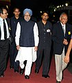 The Prime Minister, Dr. Manmohan Singh arriving at the Closing Ceremony of 1st Diamond Jubilee Year of the Saha Institute of Nuclear Physics, in Kolkata on August 21, 2011.jpg