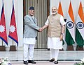 The Prime Minister, Shri Narendra Modi with the Prime Minister of Nepal, Shri K.P. Sharma Oli, at Hyderabad House, in New Delhi on February 20, 2016 (1).jpg