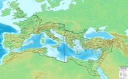 Η διοικητική διαίρεση της Ρωμαϊκής Αυτοκρατορίας περί το 395 μ.Χ. Δεν απεικονίζονται οι τέσσερις υπαρχίες του πραιτωρίου.