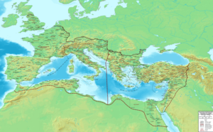 History of the Mediterranean region - The Mare nostrum, surrounded by Roman territory in c. 400 AD.