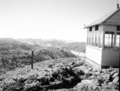 The fire lookout on Lava Point, Building 139 and view from point. ; ZION Museum and Archives Image ZION 7971 ; ZION 7971 (57a63a1a8919405882905ed9ebe2a390).tif
