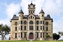 The north elevation of the Karnes County, Texas Courthouse in Karnes City, Texas, United States. The courthouse was recently restored to its original (1894) appearance.jpg