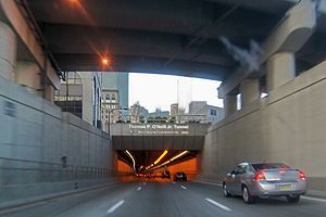 O'Neill Tunnel - The northbound entrance to the tunnel from I-93