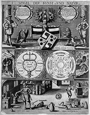 Three-tiered symbolic diagram of the art of alchemy; top lev Wellcome L0006232.jpg