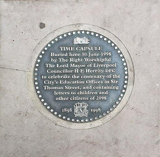 Time capsule plaque, Queen Square, Liverpool