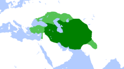 Timurid Empire at its greatest extent. Dark green is territories and light green is areas subjugated to Timur's raids.