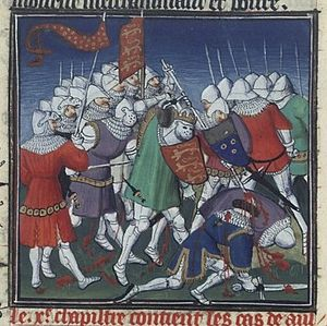 Battle of Tinchebray - Late medieval picture from the 15th century of the Battle of Tinchebray