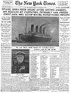 New York Times front page April 15, 1912.