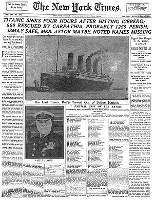 The episode references the front page of The New York Times on April 15, 1912, reporting the sinking of the RMS Titanic.
