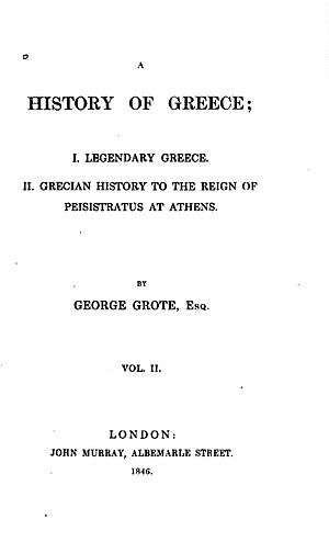 George Grote - Image: Tittle Page of Grote's History of Grrece