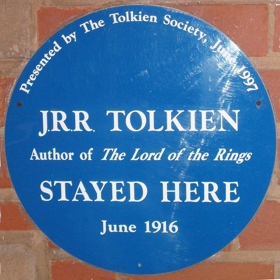 Tolkien's Plough and Harrow blue plaque