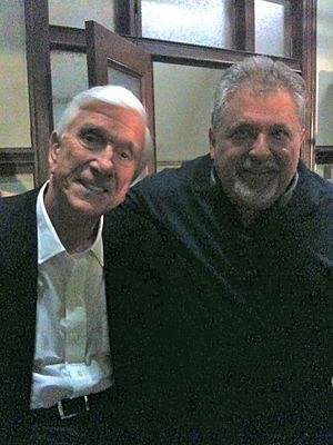 Tom Alexander - Tom Alexander with actor Leslie Nielsen on the set of Stonerville.