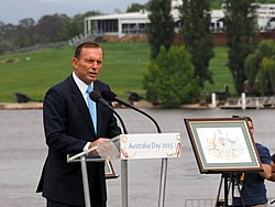 Tony Abbott speaking at the 2015 National Flag Raising and Citizenship Ceremony