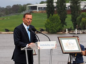 Liberal Party of Australia leadership spill motion, February 2015 - Prime Minister Abbott on Australia Day 2015, the day it was announced that Prince Philip and Air Chief Marshal Angus Houston were appointed Knights of the Order of Australia.
