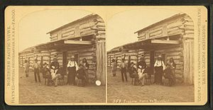 Like-a-Fishhook Village - Traders store Ft. Berthold. (Native and Euro-Americans at the trading post at Fort Berthold Agency.), by Haynes, F. Jay (Frank Jay), 1853-1921. Henry A. Boller told that the most prized articles bought by the village Indians were coffee, sugar, tea, candy and dried fruit.