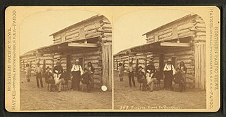 Like-a-Fishhook Village - Traders store Ft. Berthold. (Native and Euro-Americans at the trading post at Fort Berthold Agency.), by Haynes, F. Jay (Frank Jay), 1853-1921. Henry A. Boller reported that the most common purchases were coffee, sugar, tea, candy and dried fruit.