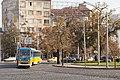 Tram in Sofia near Russian monument 065.jpg