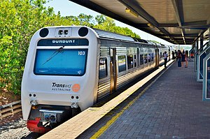 Transwa Australind - The Australind at Bunbury station in January 2014