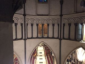 Triforium - View of (and from) the circular triforium in the round church of the Temple Church in London. Built by the Knights Templar and consecrated in 1185.