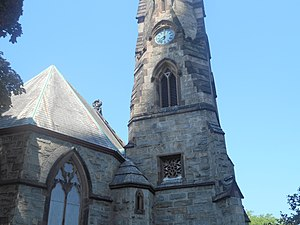 Trinity-St. Paul's Episcopal Church (New Rochelle, New York) - The clock tower at Trinity-St. Paul's Episcopal Church