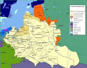 Truce of Yam-Zapolsky - Truce of Yam-Zapolsky, orange indicates territories recovered by Polish–Lithuanian Commonwealth