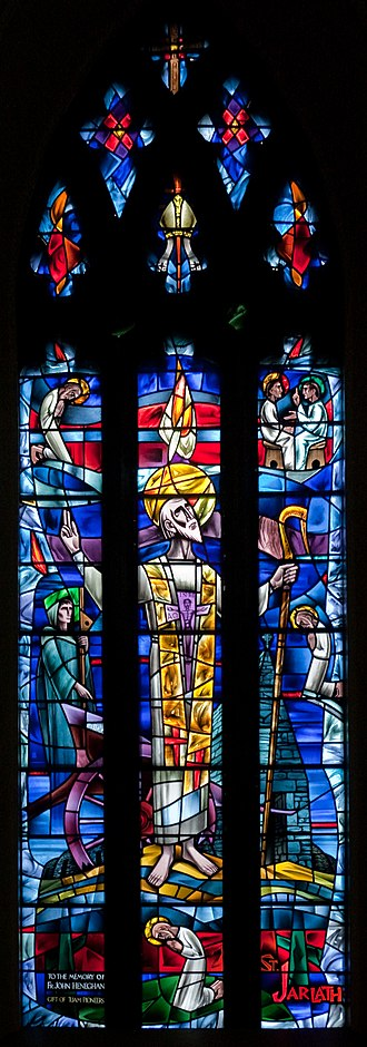 Iarlaithe mac Loga - Jarlath as depicted in a stained glass window of Tuam Cathedral, designed by Richard King in 1961.