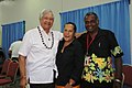 Tuiloma Neroni Slade with Dame Meg Taylor and Dr Jimmie Rodgers at the 45th Pacific Islands Forum 2014.jpg