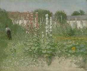 Garden with Hollyhocks