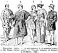 Tuniques. Historical tunics, uniform tunic etc. Book illustration (encyclopedia plate line art) Larousse du XXème siècle 1932.png
