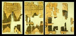 El Papiro de Turín, fragmentos de un antiguo mapa de Egipto. Los papiros son los documentos tangibles más antiguos que tenemos y las más importantes pruebas de la antigüedad y originalidad de un texto.