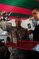 U.S. Marine Corps Maj. Gen. Rex C. McMillian, the commanding general of the 4th Marine Air Wing, learns to pour tea the Moroccan way at a social gathering in Tifnit, Morocco, April 15, 2012 during African Lion 120415-A-QD330-264.jpg