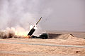 U.S. Marines with Romeo Battery, 5th Battalion, 11th Marine Regiment, Regimental Combat Team 7 fire rockets from an M142 High Mobility Artillery Rocket System at Camp Leatherneck, Helmand province, Afghanistan 130601-M-KS710-022.jpg