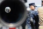 U.S. Sailors look out over the port bridge aboard the amphibious command ship USS Blue Ridge (LCC 19), flagship of the U.S. 7th Fleet, as the ship leaves Yokosuka, Japan, Aug. 7, 2012 120807-N-YF014-056.jpg
