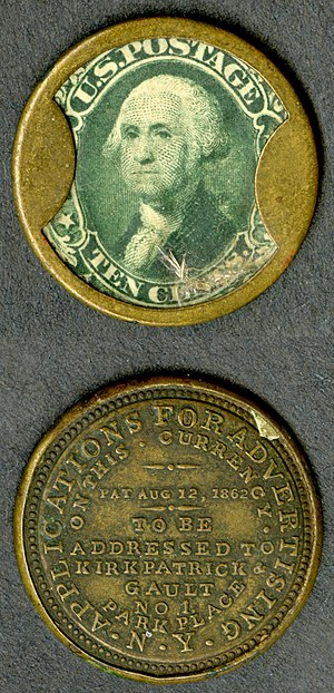 Fractional currency (United States) - Encased postage designed by John Gault.