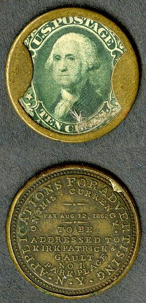Fractional currency (United States) - Encased postage designed by John Gault.