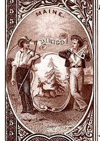 Maine state coat of arms from the reverse of the National Bank Note Series 1882BB