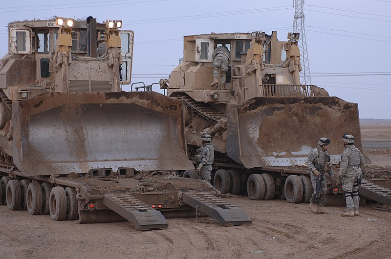 US Army D9Rs. When the US armed forces needed an answer to Arab-Islamist terrorism they bought D9R bulldozers from Israel. The armoured dozers are operated by both the Army and the USMC (Marines). (WikiCommon, US Army file, taken by Spc. Jose Ferrufino)