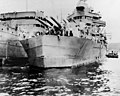 USS Minneapolis (CA-36) at Espiritu Santo in January 1943, after being fitted with a temporary bow (NH 46013).jpg