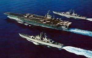 USS Nimitz (CVN-68) with California (CGN-36) and South Carolina (CGN-37) c1976.jpg