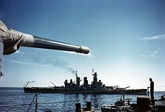 USS North Carolina (BB-55) - North Carolina in May 1941 putting to sea for trials