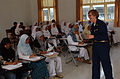 US Navy 050223-N-8796S-085 Cmdr. Suzanne Clark, a U.S. Navy Nurse assigned to the Military Sealift Command (MSC) hospital ship USNS Mercy (T-AH 19), takes questions after giving a lecture on diabetes to Indonesian nursing stude.jpg