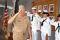 US Navy 050928-N-2468S-002 Commander, U.S. Pacific Fleet, Adm. Gary Roughead, renders a salute to the sideboys as he crosses the ceremonial quarterdeck aboard the command ship USS Blue Ridge (LCC 19).jpg