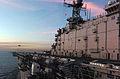 US Navy 051117-N-1467K-002 An AV-8B Harrier launches from the flight deck of the amphibious attack ship USS Peleliu (LHA 5).jpg
