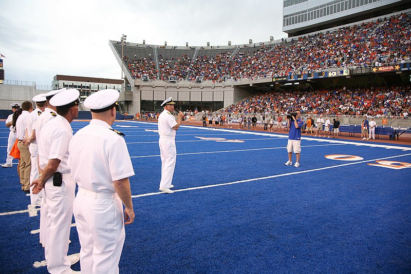 File:US Navy 100821-N-3271W-273 Rear Adm. Douglas Asbjornsen reets fans at the Boise State University scrimmage football game during Boise Navy Week.jpg