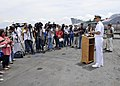 US Navy 100904-N-7103C-037 Capt. David A. Lausman, commanding officer of the aircraft carrier USS George Washington (CVN 73), conducts a press conference to discuss the ship's four-day port visit in the Philippines.jpg