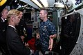 US Navy 111116-N-NK458-034 Lt. Jeffrey Schwamb explains the fire-control systems aboard the Los Angeles-class attack submarine USS Newport News.jpg
