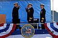 US Navy 111118-N-NK458-132 Cmdr. Gregory M. Zettler salutes Cmdr. Douglas A. Jordan as he takes command of the Los Angeles-class attack submarine U.jpg