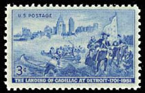 Antoine de la Mothe Cadillac - United States postage stamp commemorating Cadillac's landing at Detroit
