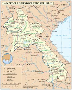 Kunming–Singapore railway - Map of Laos